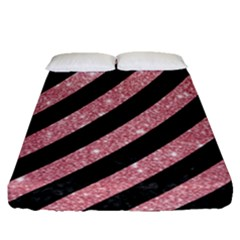 Stripes3 Black Marble & Pink Glitter (r) Fitted Sheet (queen Size) by trendistuff