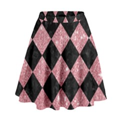Square2 Black Marble & Pink Glitter High Waist Skirt by trendistuff