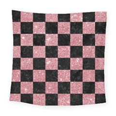 Square1 Black Marble & Pink Glitter Square Tapestry (large) by trendistuff