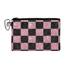 Square1 Black Marble & Pink Glitter Canvas Cosmetic Bag (medium) by trendistuff