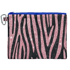 Skin4 Black Marble & Pink Glitter Canvas Cosmetic Bag (xxl)