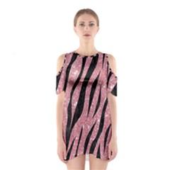 Skin3 Black Marble & Pink Glitter Shoulder Cutout One Piece