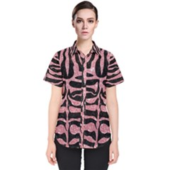 Skin2 Black Marble & Pink Glitter (r) Women s Short Sleeve Shirt