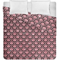 Scales2 Black Marble & Pink Glitter Duvet Cover Double Side (king Size) by trendistuff