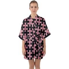 Puzzle1 Black Marble & Pink Glitter Quarter Sleeve Kimono Robe