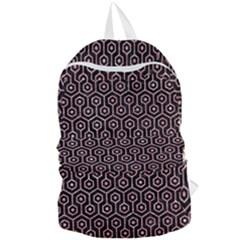 Hexagon1 Black Marble & Pink Glitter (r) Foldable Lightweight Backpack by trendistuff