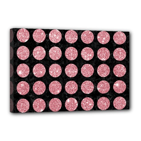 Circles1 Black Marble & Pink Glitter (r) Canvas 18  X 12  by trendistuff