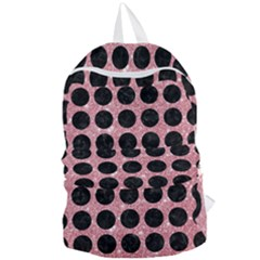 Circles1 Black Marble & Pink Glitter Foldable Lightweight Backpack by trendistuff