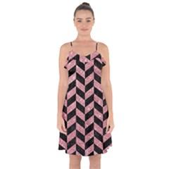 Chevron1 Black Marble & Pink Glitter Ruffle Detail Chiffon Dress