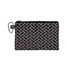 Brick2 Black Marble & Pink Glitter (r) Canvas Cosmetic Bag (small) by trendistuff