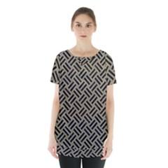 Woven2 Black Marble & Khaki Fabric Skirt Hem Sports Top by trendistuff