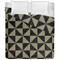 Triangle1 Black Marble & Khaki Fabric Duvet Cover Double Side (california King Size) by trendistuff