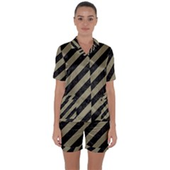Stripes3 Black Marble & Khaki Fabric (r) Satin Short Sleeve Pyjamas Set