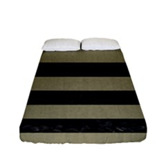 Stripes2black Marble & Khaki Fabric Fitted Sheet (full/ Double Size)