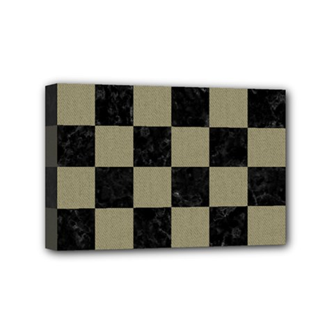 Square1 Black Marble & Khaki Fabric Mini Canvas 6  X 4  by trendistuff