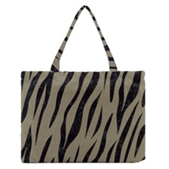 Skin3 Black Marble & Khaki Fabric Zipper Medium Tote Bag by trendistuff