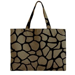 Skin1 Black Marble & Khaki Fabric (r) Zipper Mini Tote Bag by trendistuff
