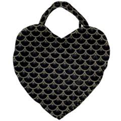 Scales3 Black Marble & Khaki Fabric (r) Giant Heart Shaped Tote by trendistuff