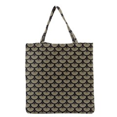 Scales3 Black Marble & Khaki Fabric Grocery Tote Bag by trendistuff