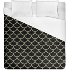 Scales1 Black Marble & Khaki Fabric (r) Duvet Cover (king Size) by trendistuff