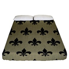 Royal1 Black Marble & Khaki Fabric (r) Fitted Sheet (queen Size) by trendistuff