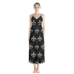 Royal1 Black Marble & Khaki Fabric Button Up Chiffon Maxi Dress
