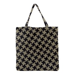 Houndstooth2 Black Marble & Khaki Fabric Grocery Tote Bag by trendistuff