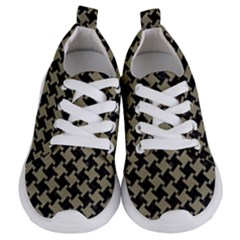 Houndstooth2 Black Marble & Khaki Fabric Kids  Lightweight Sports Shoes