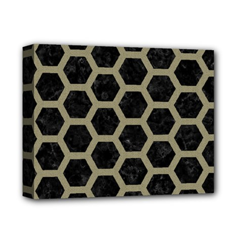 Hexagon2 Black Marble & Khaki Fabric (r) Deluxe Canvas 14  X 11  by trendistuff