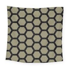 Hexagon2 Black Marble & Khaki Fabric Square Tapestry (large) by trendistuff