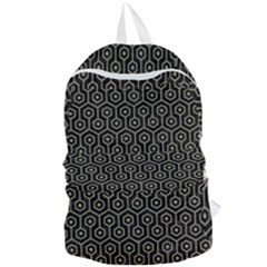 Hexagon1 Black Marble & Khaki Fabric (r) Foldable Lightweight Backpack by trendistuff