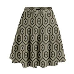 Hexagon1 Black Marble & Khaki Fabric High Waist Skirt by trendistuff