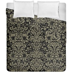 Damask2 Black Marble & Khaki Fabric (r) Duvet Cover Double Side (california King Size) by trendistuff