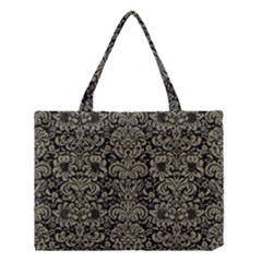 Damask2 Black Marble & Khaki Fabric (r) Medium Tote Bag by trendistuff