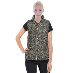 Damask2 Black Marble & Khaki Fabric Women s Button Up Puffer Vest
