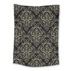 Damask1 Black Marble & Khaki Fabric (r) Medium Tapestry by trendistuff