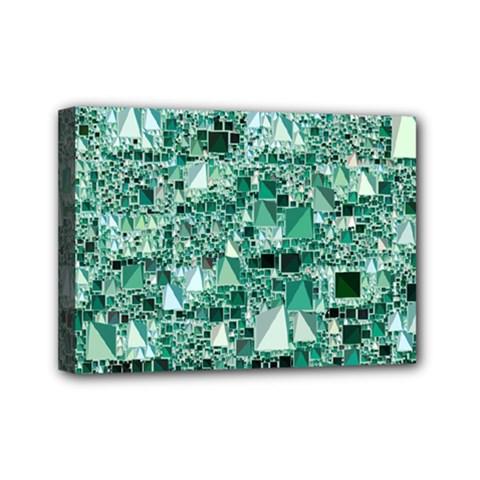 Modern Geo Fun, Teal Mini Canvas 7  X 5  by MoreColorsinLife
