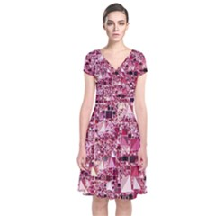 Modern Geo Fun,pink Short Sleeve Front Wrap Dress by MoreColorsinLife