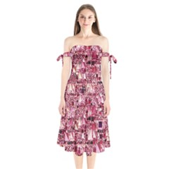 Modern Geo Fun,pink Shoulder Tie Bardot Midi Dress