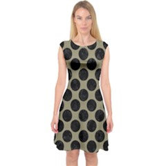Circles2 Black Marble & Khaki Fabric Capsleeve Midi Dress