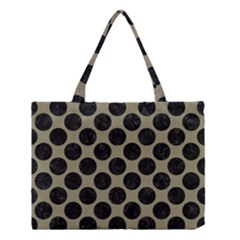 Circles2 Black Marble & Khaki Fabric Medium Tote Bag by trendistuff