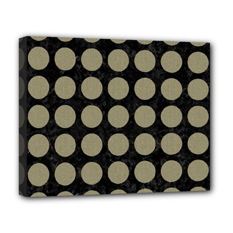 Circles1 Black Marble & Khaki Fabric (r) Deluxe Canvas 20  X 16   by trendistuff