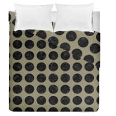 Circles1 Black Marble & Khaki Fabric Duvet Cover Double Side (queen Size) by trendistuff