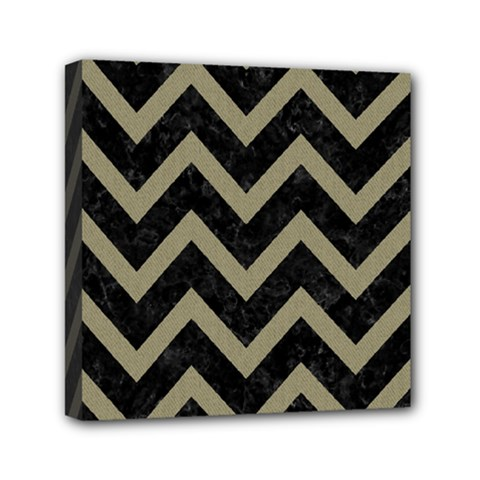 Chevron9 Black Marble & Khaki Fabric (r) Canvas Travel Bag by trendistuff