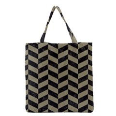 Chevron1 Black Marble & Khaki Fabric Grocery Tote Bag by trendistuff
