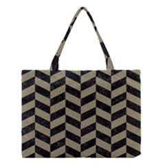 Chevron1 Black Marble & Khaki Fabric Medium Tote Bag by trendistuff