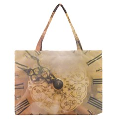 Old Wall Clock Vintage Style Photo Zipper Medium Tote Bag by dflcprints