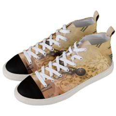 Old Wall Clock Vintage Style Photo Men s Mid Top Canvas Sneakers by dflcprints