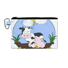 Friends Not Food   Cute Pig And Chicken Canvas Cosmetic Bag (medium)