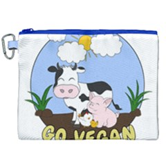 Friends Not Food   Cute Pig And Chicken Canvas Cosmetic Bag (xxl) by Valentinaart